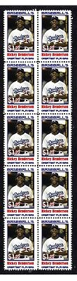 Rickey Henderson Baseball Great Strip Of10 Mint Stamps4