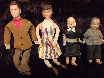 Four VERY special antique tiny dolls, wood, plastic, bisque celluloid