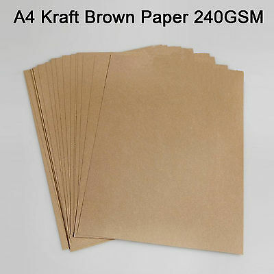 100x A4 240GSM Thick Brown Kraft Natural Recycled Paper Sheet Invitation Card