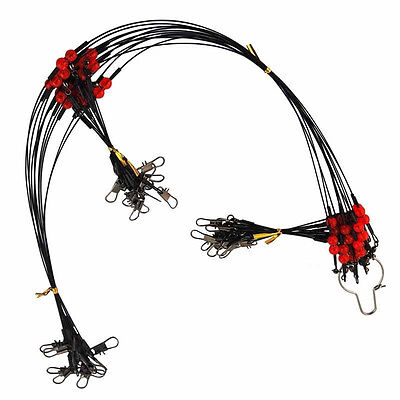 Lot Stainless Steel Wire Fishing Leaders with Swivels Snaps Beads Black Wire Rig