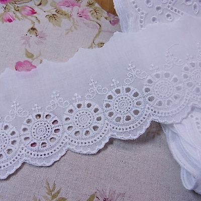 5yds Embroidery Broderie Anglaise Eyelet Lace Trim yh1509 wide 9cm Ivory