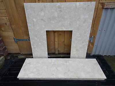 Marble Fire Back and Hearth