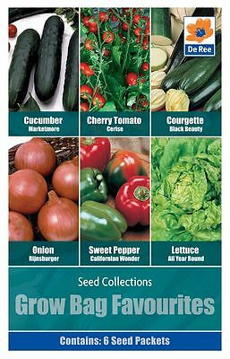 SEED Collection Pack - GROWBAG Favourites, TOMATO, CUCUMBER, ONION, LETTUCE
