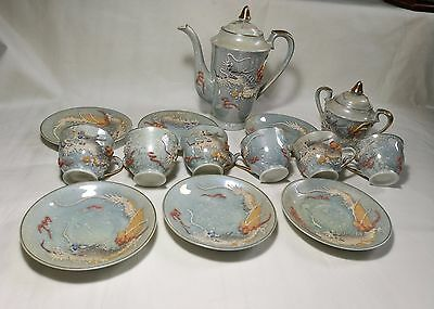 VTG Japanese Handcrafted Eggshell Lithophane Gesha girl Porcelain tea set 14pcs