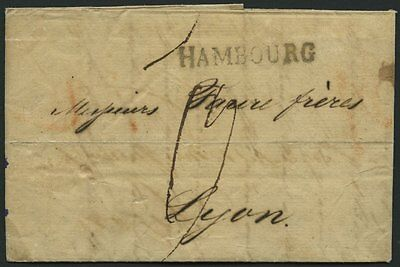 HAMBURG 34 BRIEF, 1816, HAMBOURG, L1 auf Brief n. Lyon, feinst