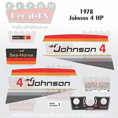 1978 Johnson 4 HP Sea Horse Outboard Reproduction 15 Pc Marine Vinyl Decals