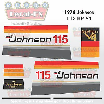1978 Johnson 115 HP V4 Sea-Horse Outboard Reproduction 15 Pc Marine Vinyl Decals