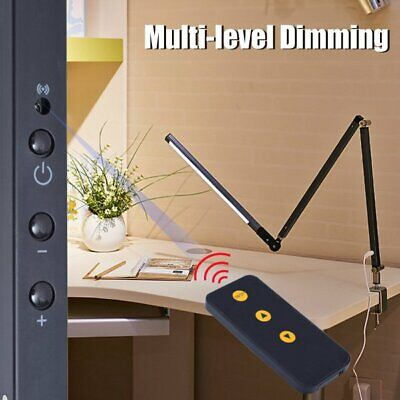 Dimmable LED Flexible Desk Light Reading Lamp Eye Care Clip-on + Remote Control