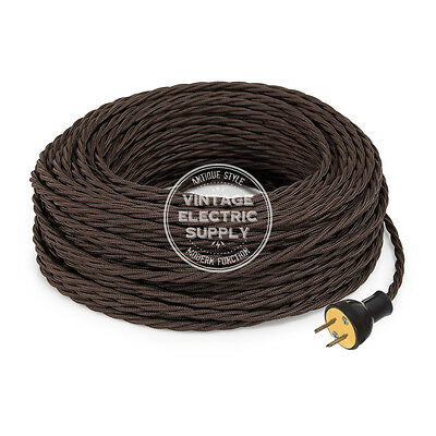 Brown Cordset - Cloth Covered Twisted Rewire Set - Antique Lamp & Fan Cord