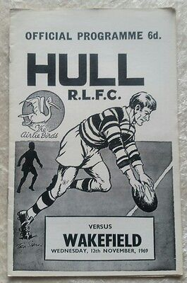 Hull v Wakefield Wednesday 12th November 1969 Rugby League Programme