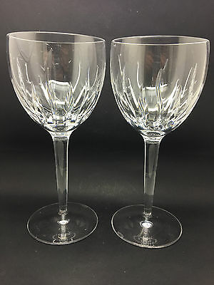 Pair of Large Stu Crystal Red Wine Glasses,  Hand Cut & Polished - Signed