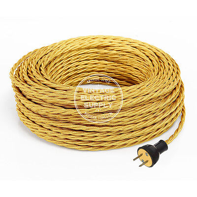 Gold Cordset - Cloth Covered Twisted Rewire Set - Antique Lamp & Fan Cord