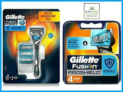 Gillette Fusion ProShield Chill FlexBall Razor and 8 Blades Pack - GREAT VALUE!