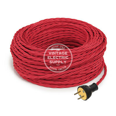 Red Cordset - Cloth Covered Twisted Rewire Set - Antique Lamp & Fan Cord