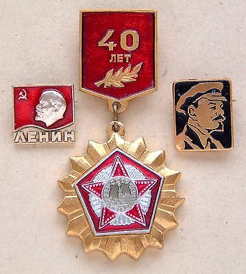 Soviet Era USSR: Two Lenin and a 40th Anniversary WWII: Lapel Badges