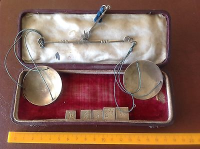Old Set Of Brass Scales In Case With 5 X Weights Apothecary  Scales