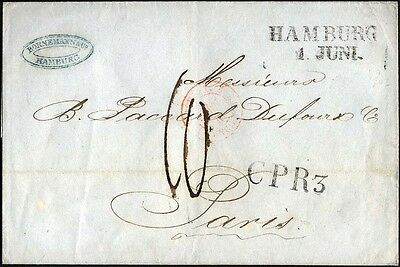 HAMBURG 2 BRIEF, 1846, HAMBURG, L2 und L1 CPR 3 auf Brief n. Paris, roter Tour-T