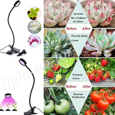 Indoor Plants Growing Light Lamp Led Bulbs 2 Level w/ Clip Flexible Dimmable UK