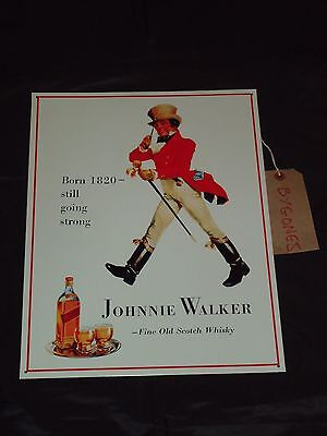 Johnie Walker Whisky Metal Picture Picture Sign /Tin Whiskey Scotch-Scotland-Bar