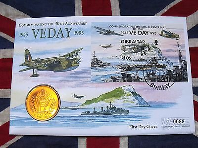 1995 Gibraltar Five pounds £5 coin in a VE Day First Day cover