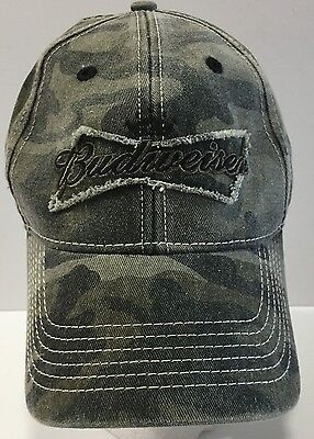 Budweiser Distressed Camouflage Embroidered Baseball Cap Hat