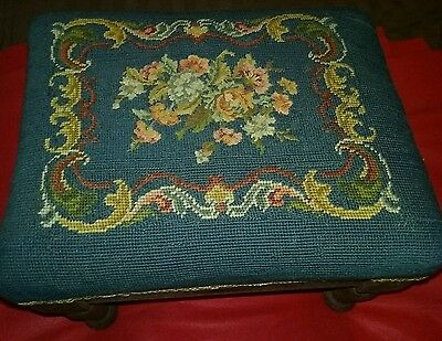 Antique Victorian Needle point foot stool ottoman floral design