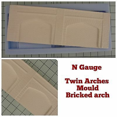 N-Gauge Model Railway Twin  Arches Mould - Stone Arches With BRICK Walling