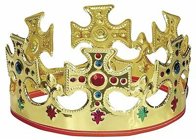 Plastic King Crown Hat Gold Jeweled Regal Adults Prince Costume Showing party
