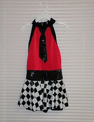 Girls Race Car Dance Costume Shorty Tutu Dress Red White Black Size Small Child