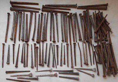 100 + Antique Bent Wrought Iron Square Nails / Assorted Sizes /  Vintage
