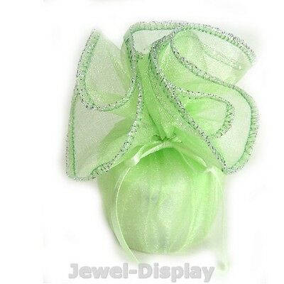"""New 200 New Silver Edge Apple Green Organza Jewellery Favour Gift Wraps 10"""""""