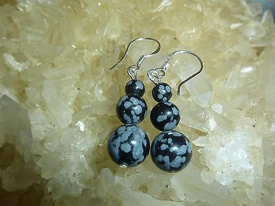 EARRINGS OBSIDIAN SNOW DARK 4-6-8mm MONTURE EN ARGENT 925
