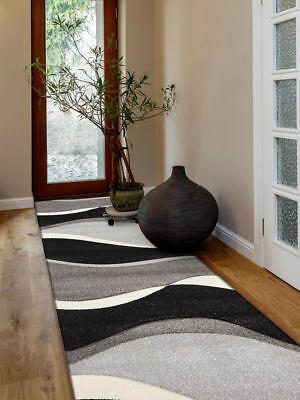 80x300cm Runner Modern Floor Rug ICONIC BLACK GREY Waves Mat IC702BL