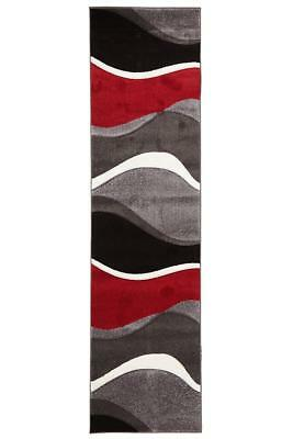 80x300cm Runner Modern Floor Rug ICONIC GREY RED Waves Mat IC702R