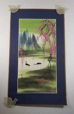 7 Chinese Scrolls Boats Birds & Landscapes Including One Hand Painted & One Silk