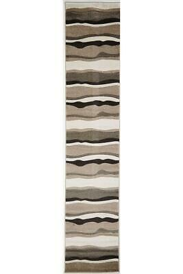 80x400cm Runner Modern Floor Rug ICONIC BEIGE Thick Waves Mat IC703B