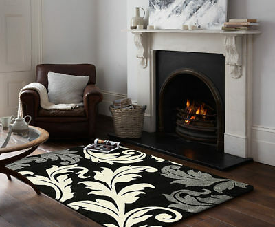 80x150cm Runner Modern Floor Rug ICONIC BLACK RED Damask Leaves Mat IC704BL
