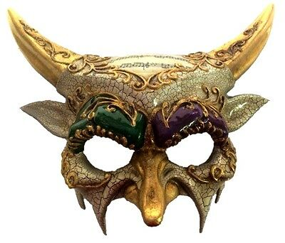 Mardi Gras Horned Devil Party Half Mask Adult Mens Venetian Costume Accessory