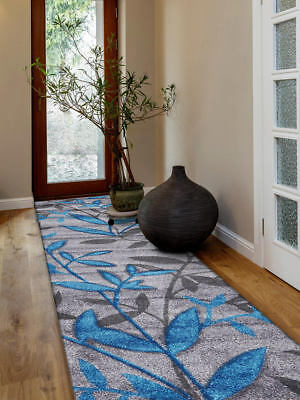 80x400cm Runner Modern Floor Rug ICONIC GREY BLUE Sping Leaves Mat IC707GR