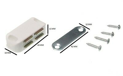 Single Magnetic Catch + Plate And Fixing Screws White 5 KG Pull Pack 200