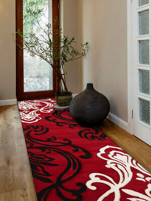 80x150cm Runner Modern Floor Rug ICONIC RED Damask Mat IC708R