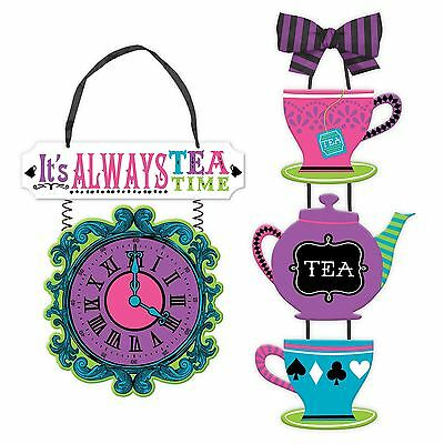 Mad Hatter Tea Party Wonderland Alice Hanging Wood Sign Wall Party Decoration