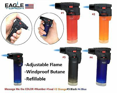 Eagle Jet Torch Gun Lighter Adjustable Flame Windproof Butane Refillable- 1Pk