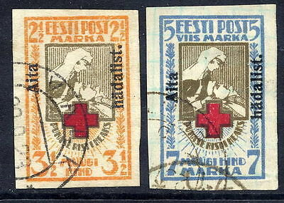 ESTONIA 1923 Charity o'pt on Red Cross imperf. used