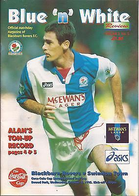 Football Programme - Blackburn Rovers v Swindon Town - League Cup - 1995