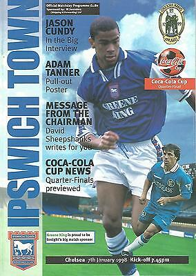 Football Programme - Ipswich Town v Chelsea - League Cup QUARTER FINAL - 1998