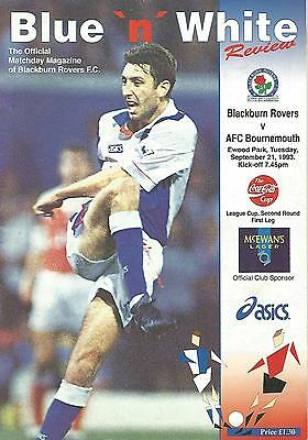 Football Programme - Blackburn Rovers v Bournemouth - League Cup - 1993