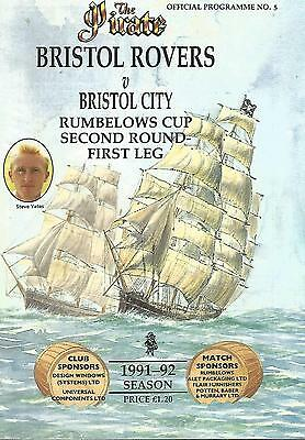 Football Programme - Bristol Rovers v Bristol City - League Cup - 1991
