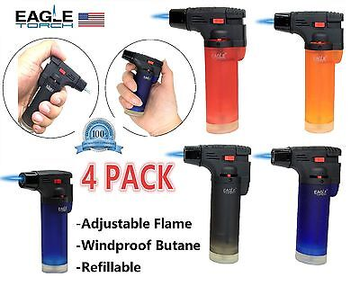 Eagle Jet Torch Gun Lighter Adjustable Flame Windproof Butane Refillable - 4PACK