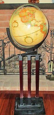 "Replogle Globe Map Mahogany Wood Metal Stand 16"" Large World Terrestrial 35 Lbs."
